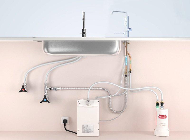 Bộ lọc và bộ điện phân của máy lọc nước Cleansui Alkaline AL800 được lắp đặt ở dưới bồn rửa